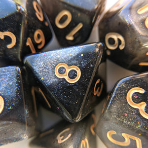 Black Nebula DnD Dice Set, Black and White Micro Shimmer