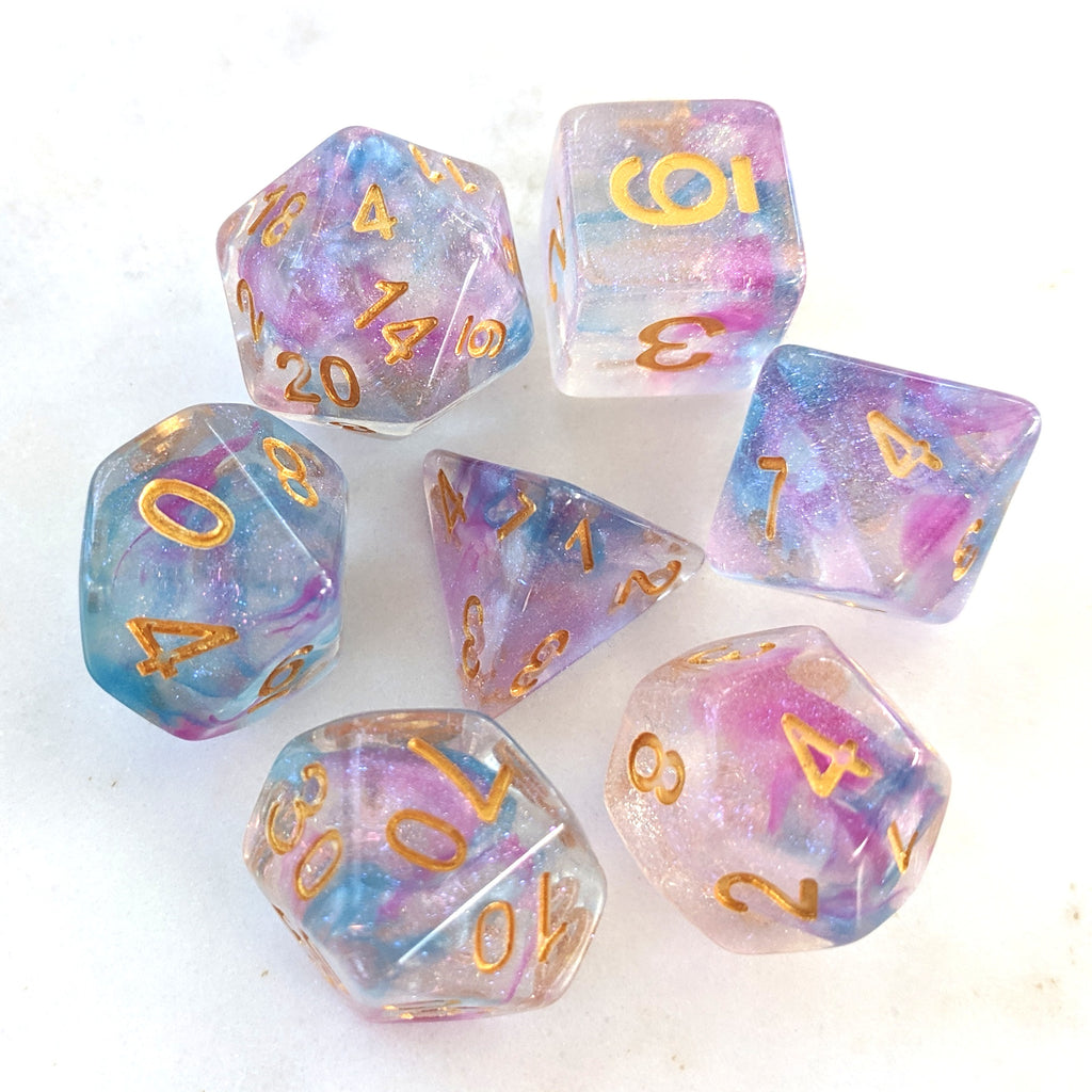 Shimmering Reflection DnD Dice Set, Purple Translucent Glitter Dice - CozyGamer