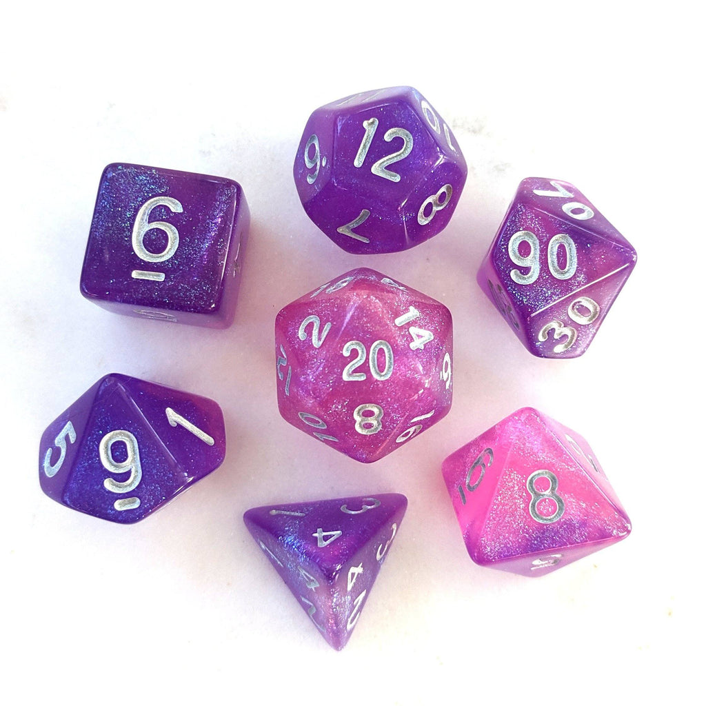 Royal Aurora DnD Dice Set, Purple and Pink Semi Translucent Glitter Dice - CozyGamer