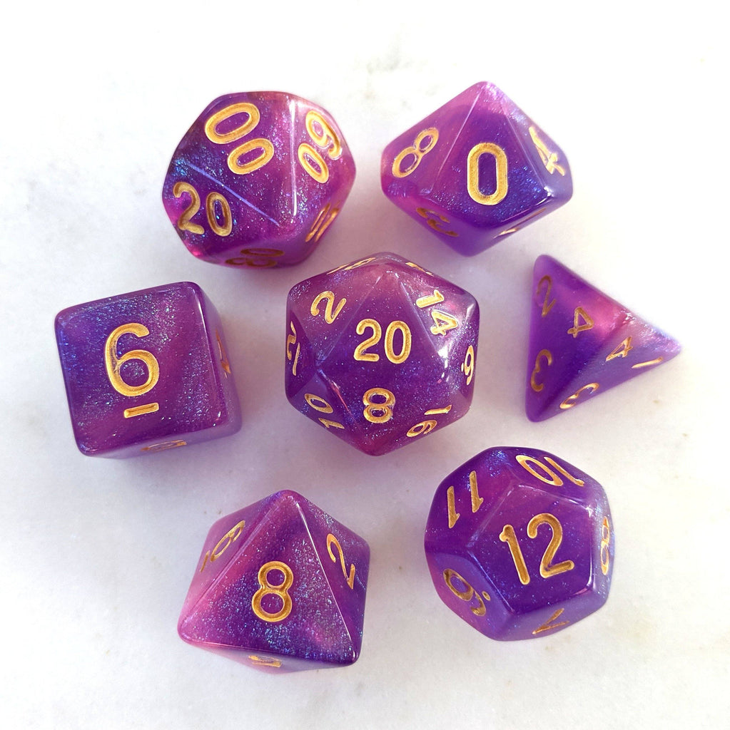 Briar Rose Aurora DnD Dice Set, Purple and Pink Semi Translucent Glitter Dice - CozyGamer
