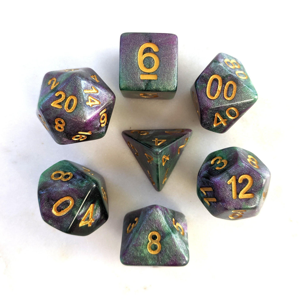 Cthulu DnD Dice Set, Deep Green and Purple Shimmer Dice - CozyGamer