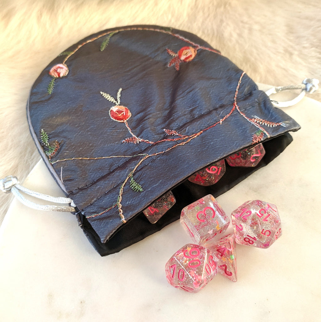 Silk Embroidered Drawstring Dice Bag - CozyGamer