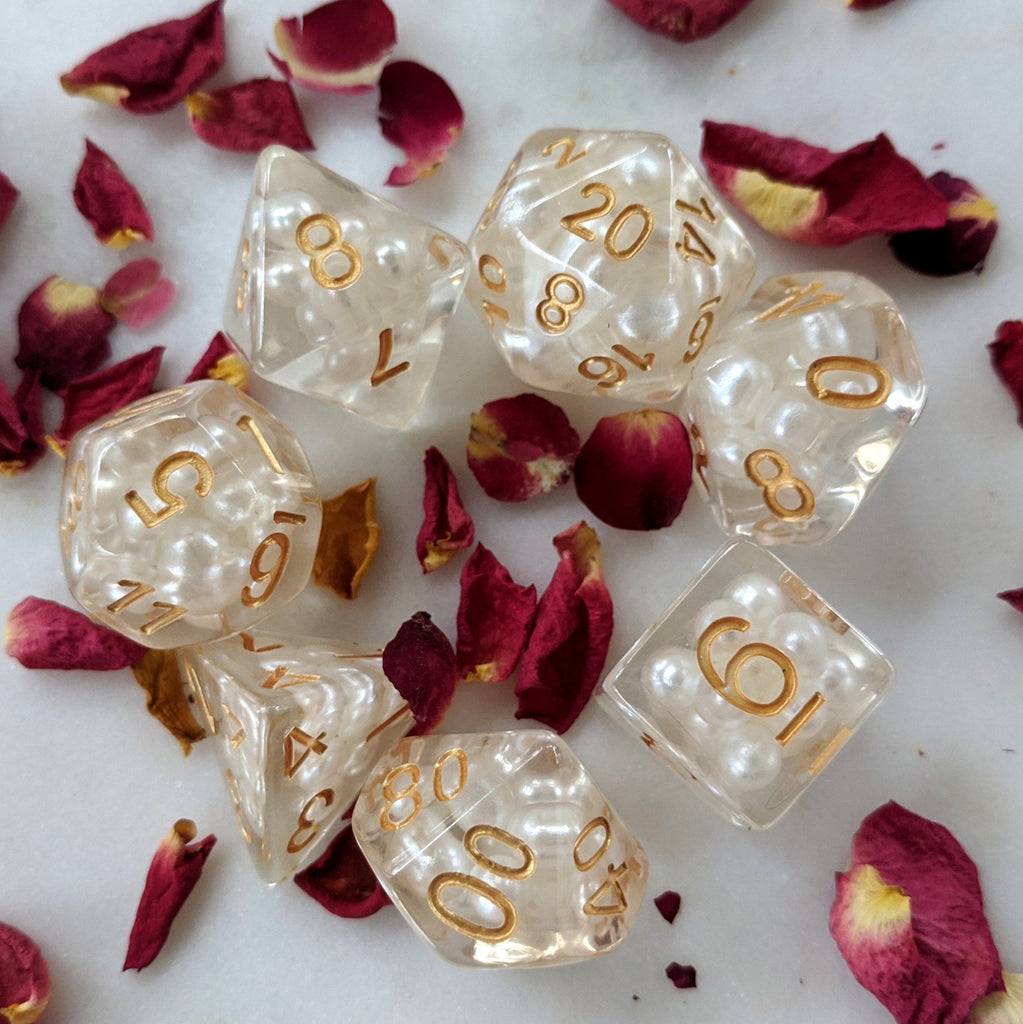White Pearl Dice Set, Translucent Resin Dice with Faux Pearls - CozyGamer