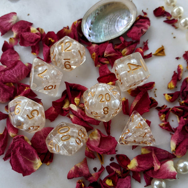 White Pearl Dice Set, Translucent Resin Dice with Faux Pearls