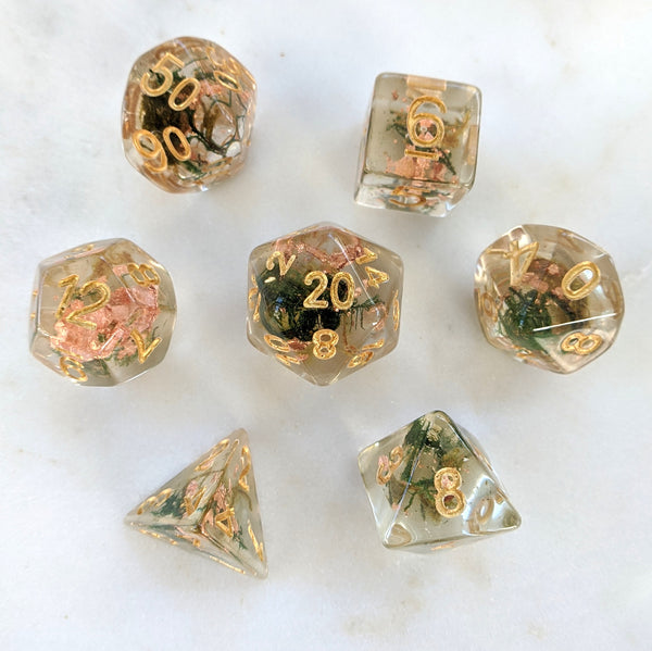 Moss and Copper Dice Set, Translucent Resin Dice with Real Moss and Copper Foil
