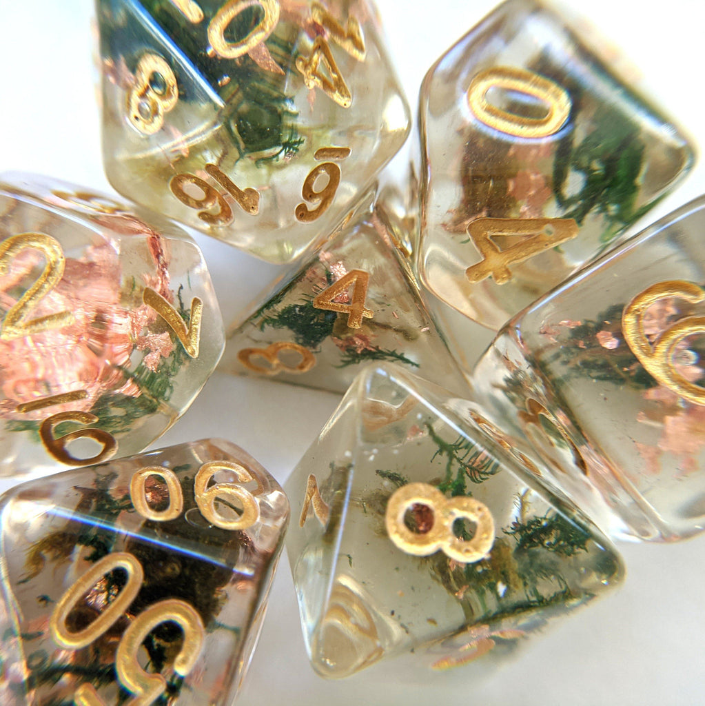 Moss and Copper Dice Set, Translucent Resin Dice with Real Moss and Copper Foil - CozyGamer