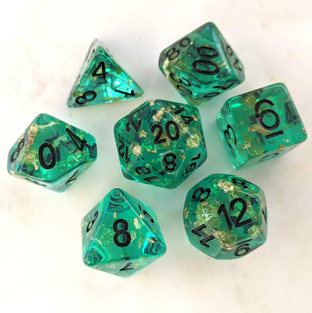 Oceanic Scepter Dice Set. Teal Clear Resin with Gold Foil - CozyGamer