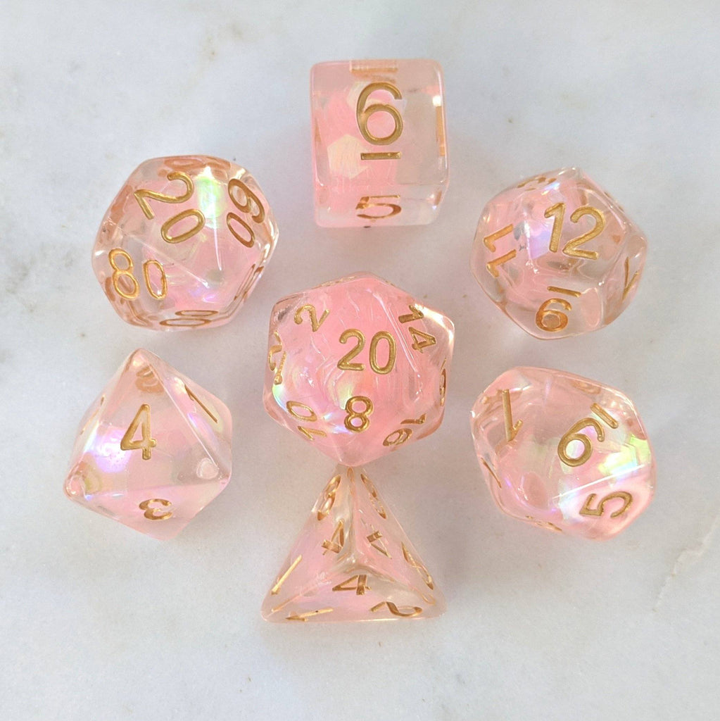 Rainbow Glint Dice Set. Clear Resin with Pink Glitter - CozyGamer