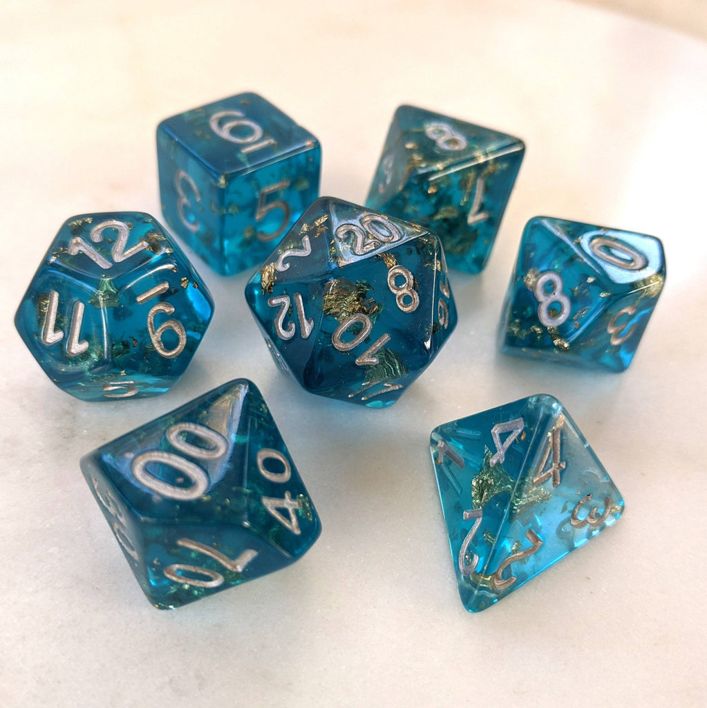 Sapphire Scepter Dice Set. Blue Clear Resin with Gold Foil - CozyGamer
