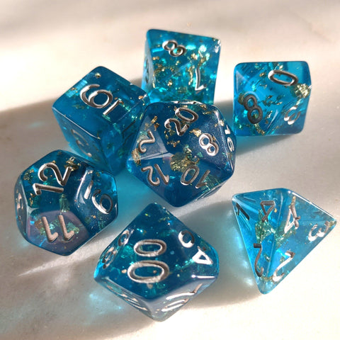 Sapphire Scepter Dice Set. Blue Clear Resin with Gold Foil