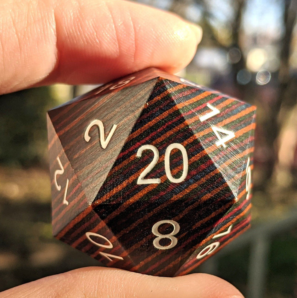 Large Wood D20, Dark Rainbow Wooden Die - CozyGamer