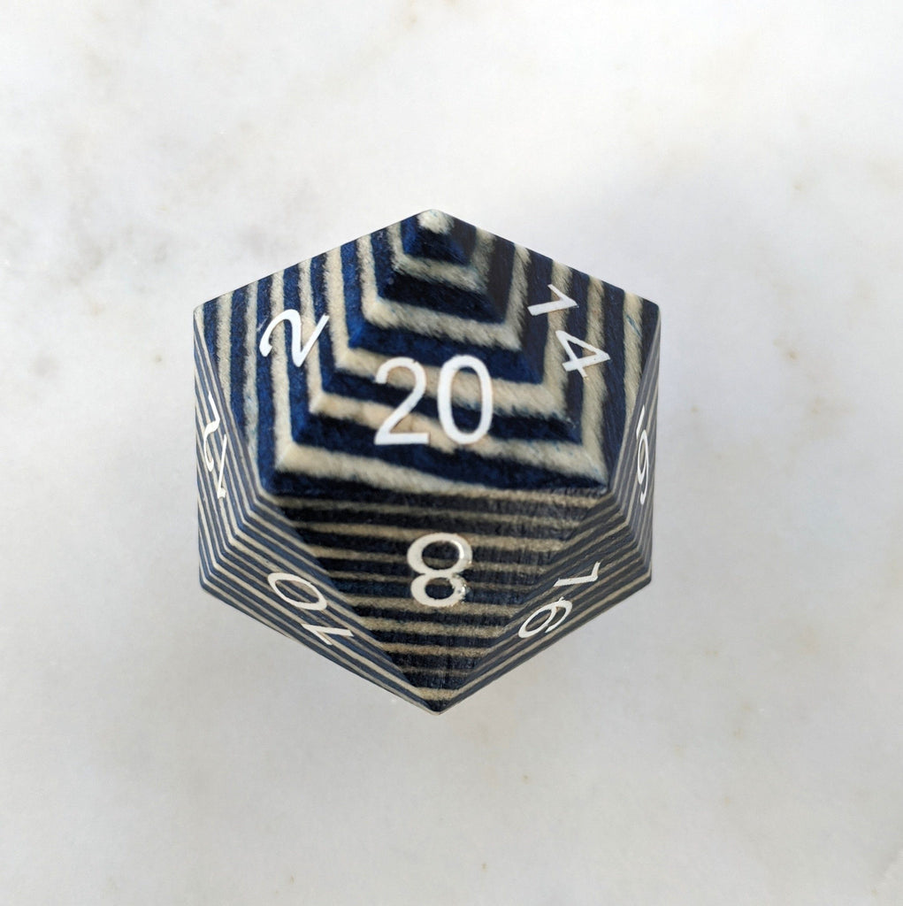 Blue and White Stripe Large Wood D20 - CozyGamer