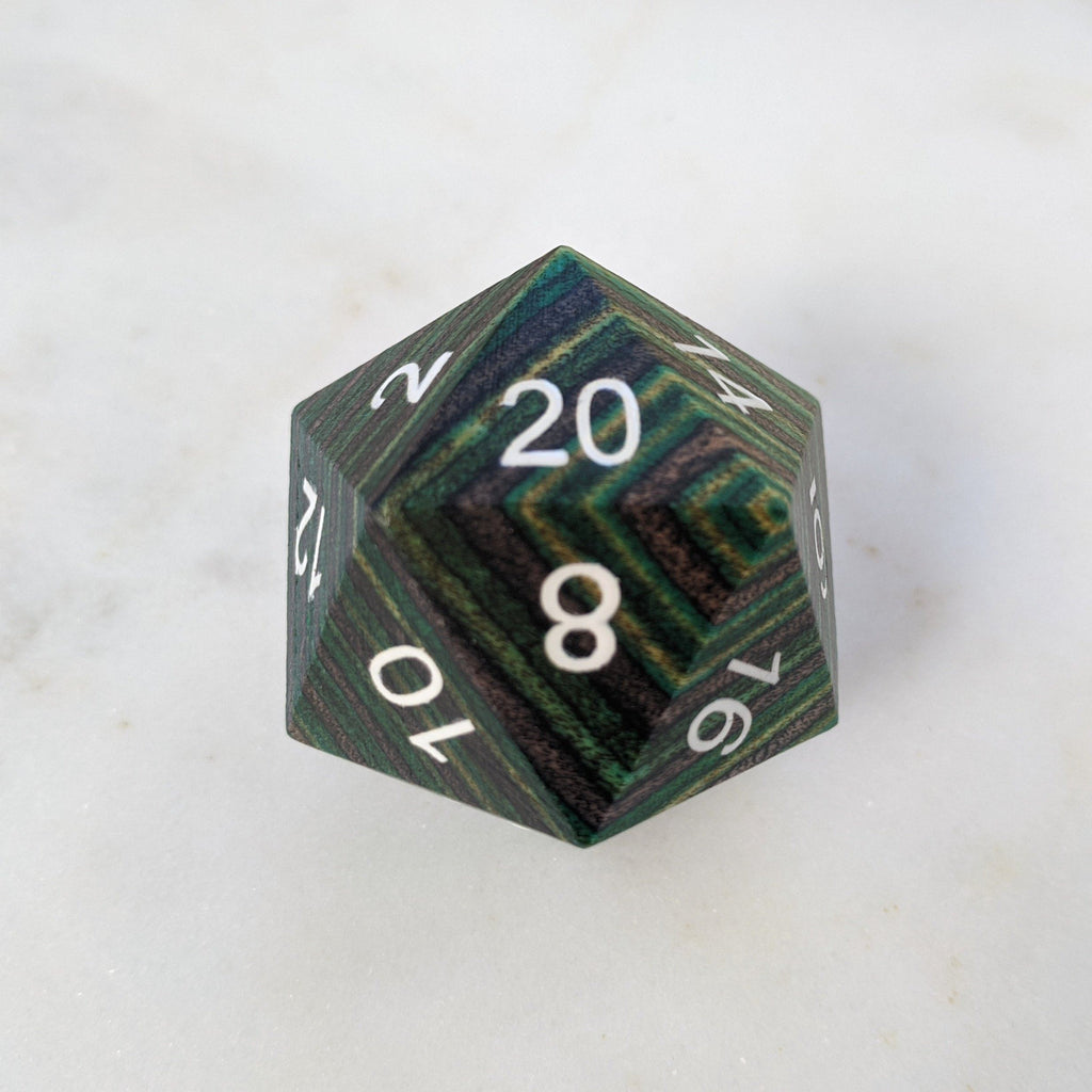 Green and Brown Stripe Large Wood D20 - CozyGamer