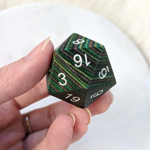 Green and Brown Stripe Large Wood D20