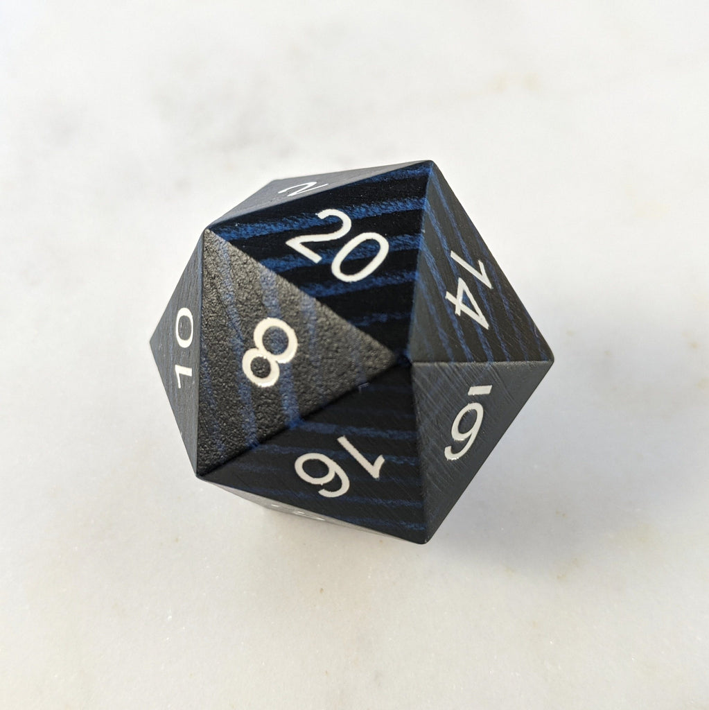 Blue and Black Stripe Large Wood D20 - CozyGamer