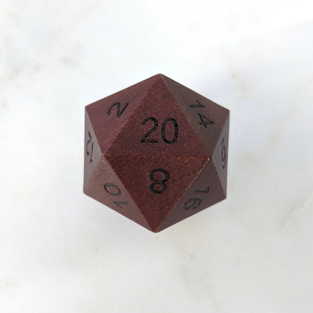 Purple Heart Large Wood D20 - CozyGamer