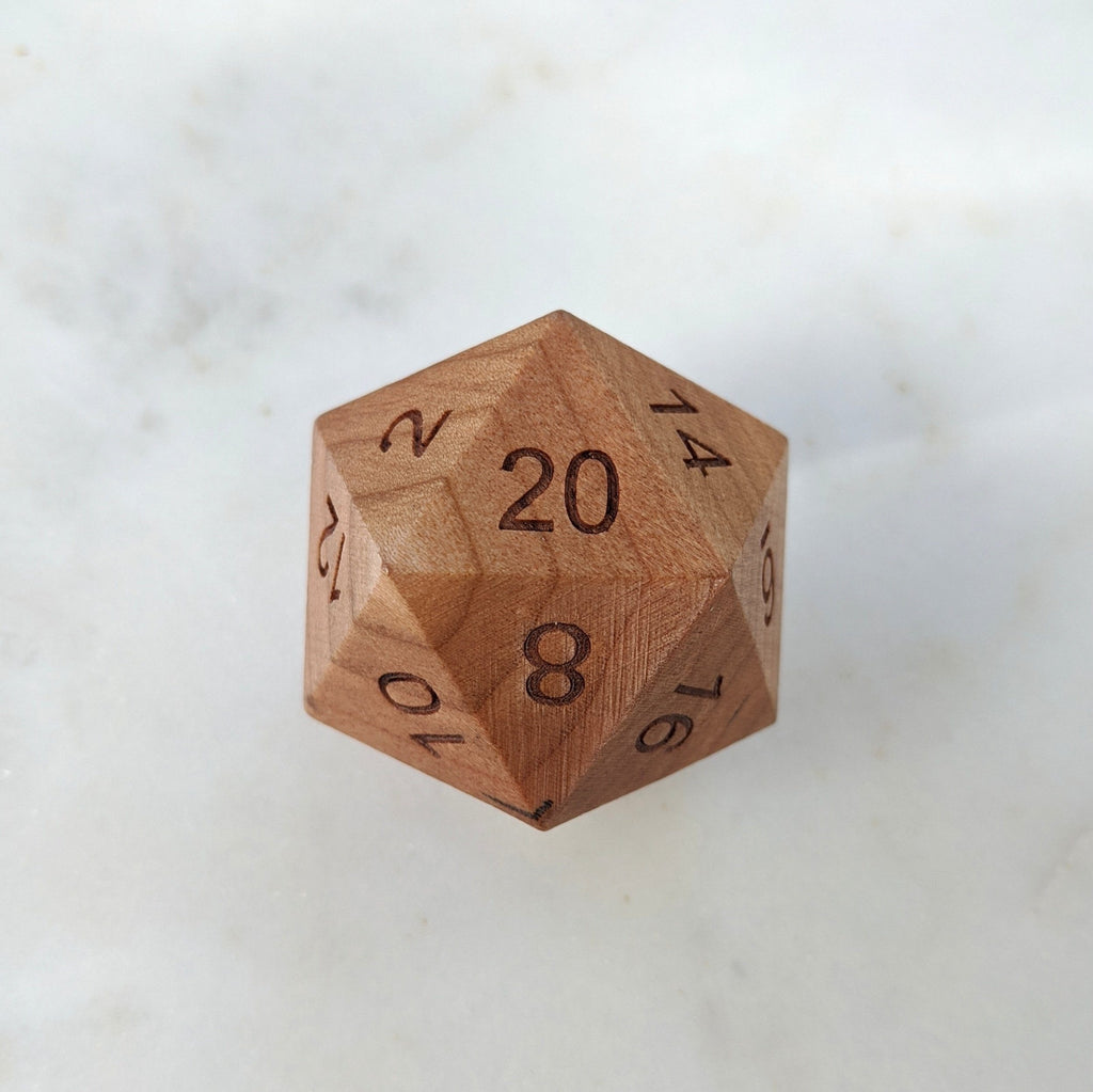 Cherry Wood Large D20 - CozyGamer
