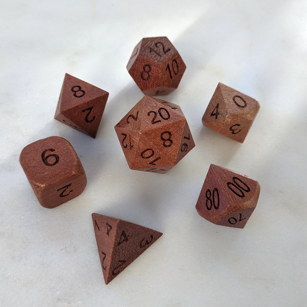 Red Sandalwood Wood Dice set - CozyGamer