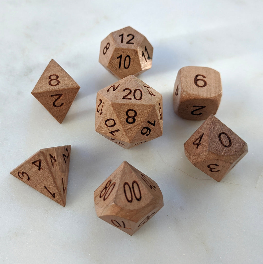 Cherry Wood Dice set - CozyGamer
