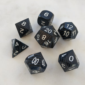 Black and Blue Striped Wood Dice set