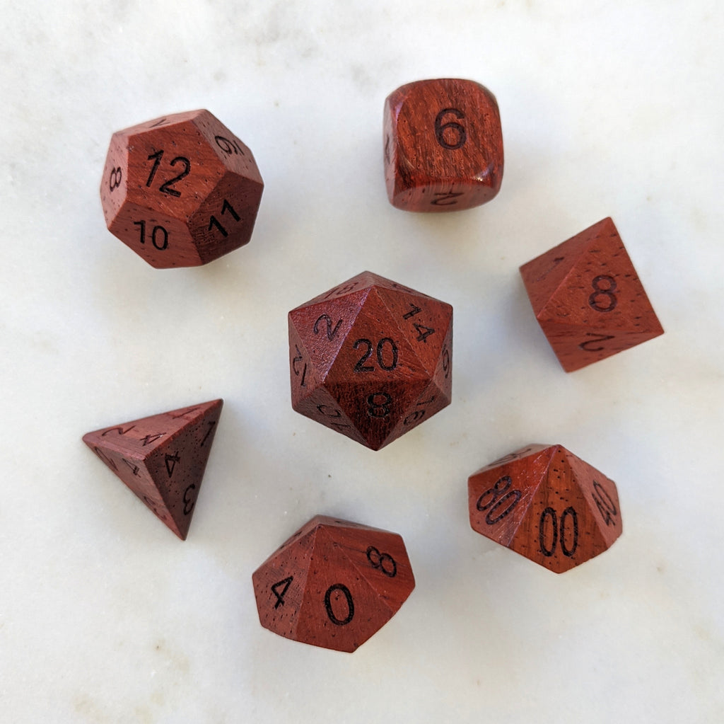 Red Wood Dice set - CozyGamer