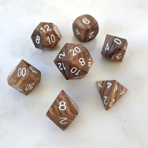 Zebra Wood Dice set, Striped Light Wooden Dice