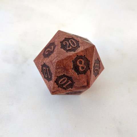Steampunk Gears Wood Large D20