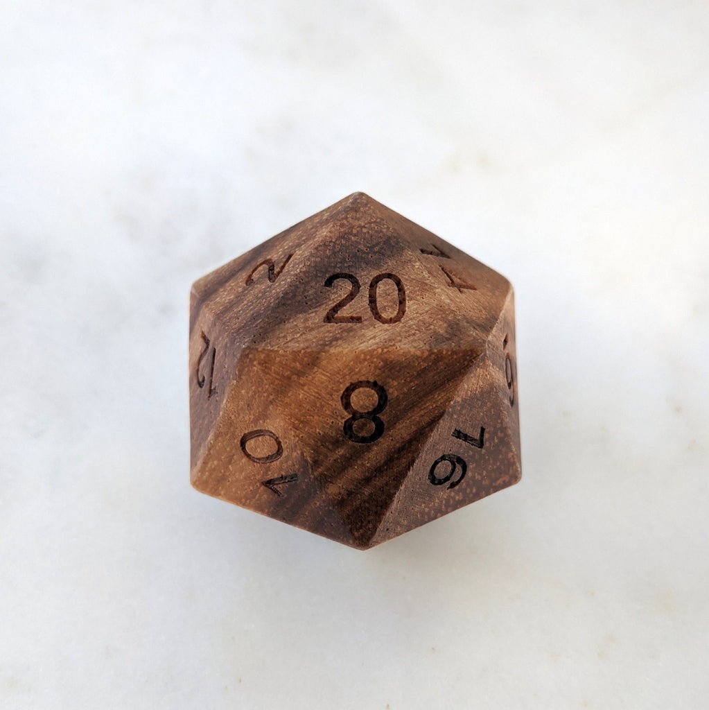 Zebra Wood D20, Light Striped Wooden Die - CozyGamer