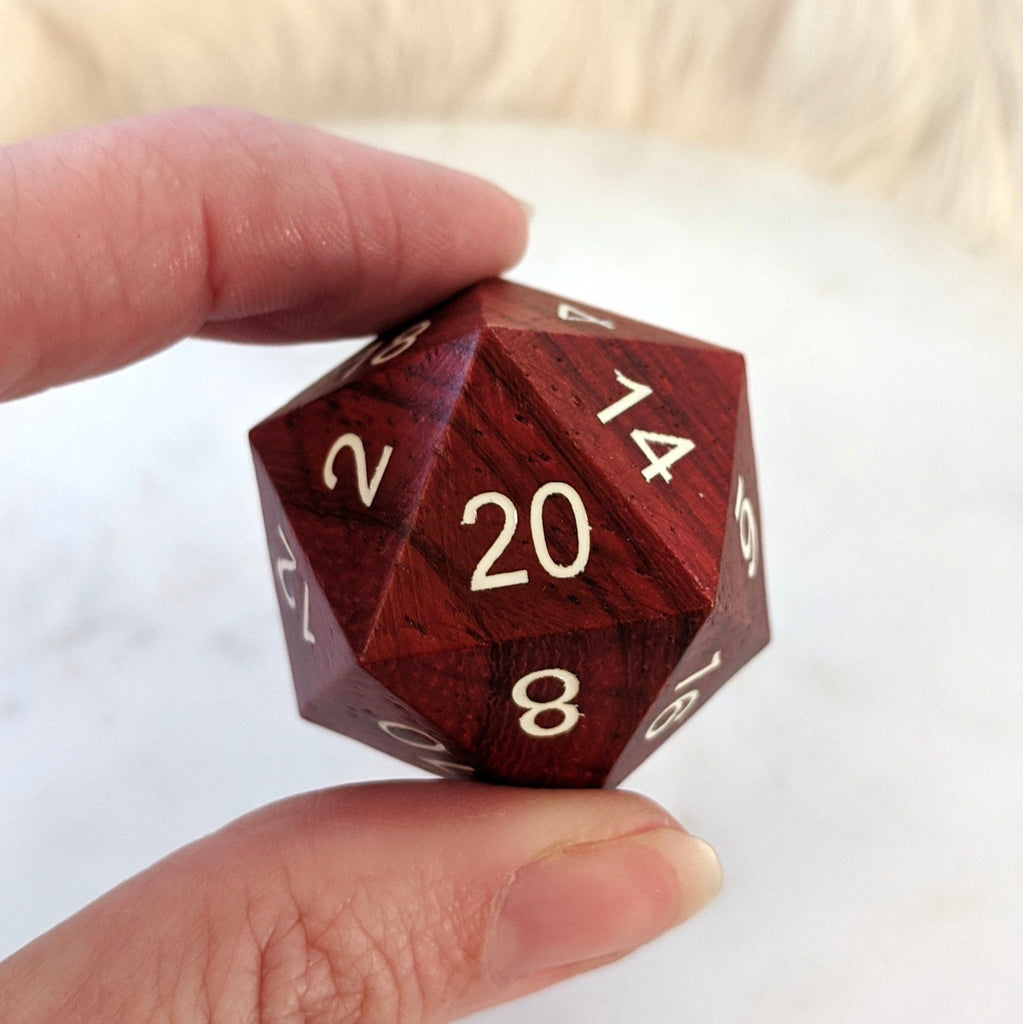 Red Wood Large D20 - CozyGamer
