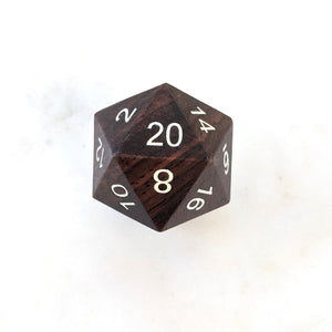 Ebony Wood D20, Wooden Die