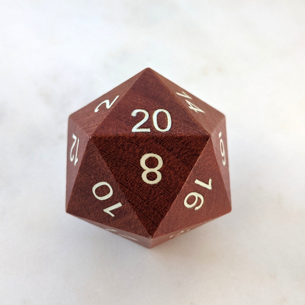 Red Sandalwood Large D20 - CozyGamer