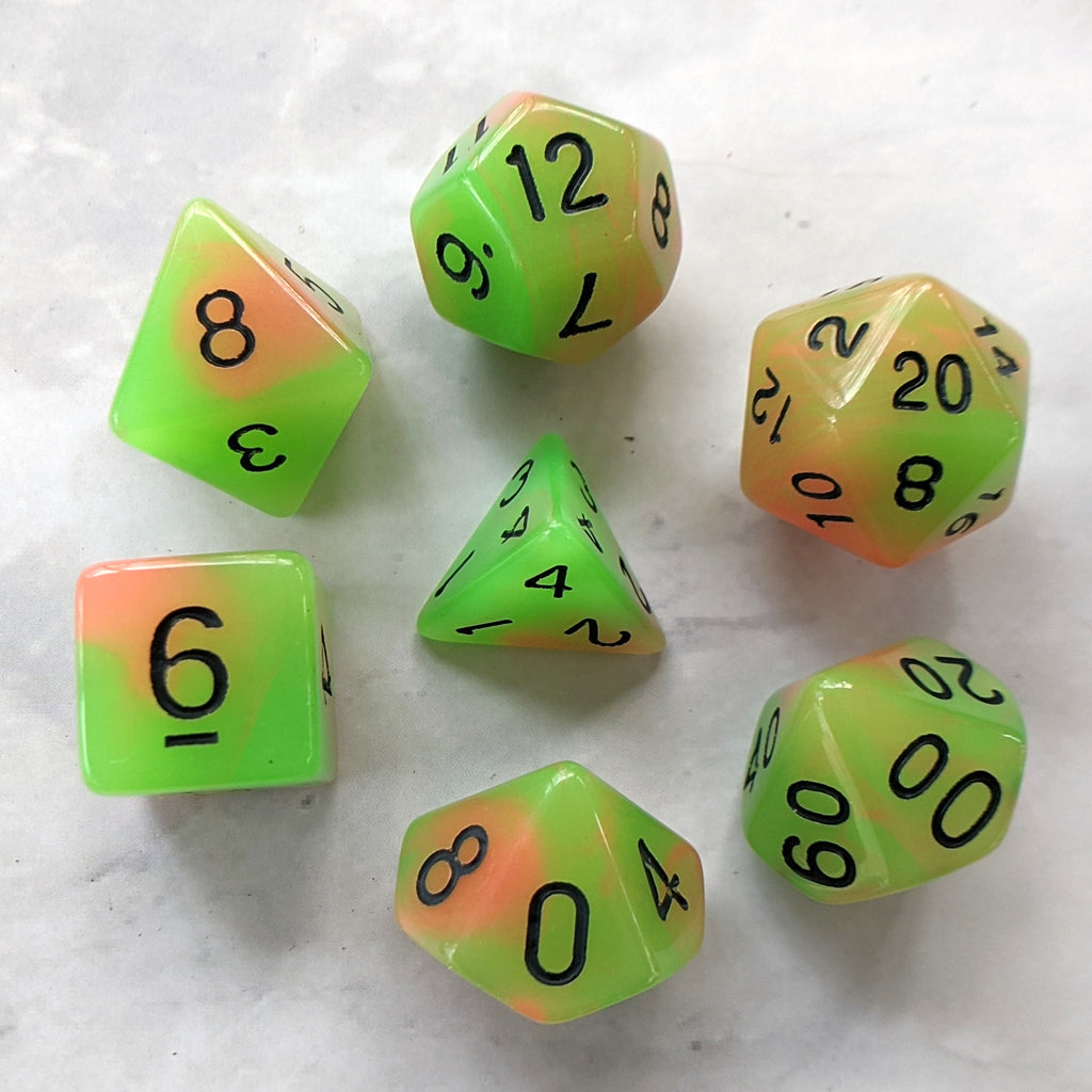 Green and Orange Glow in the Dark DnD Dice Set - CozyGamer