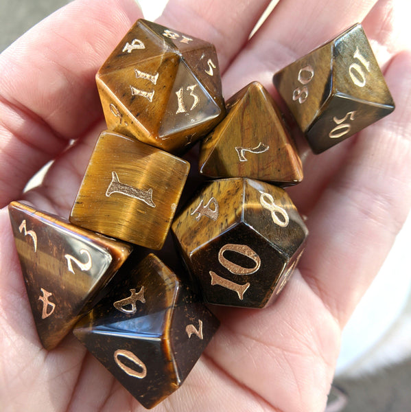 Tiger Eye Dice Set. Real Gemstone 7 Piece TTRPG Dice