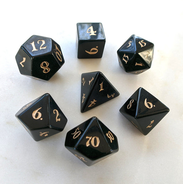 Obsidian Dice Set. Real Gemstone 7 Piece TTRPG Dice