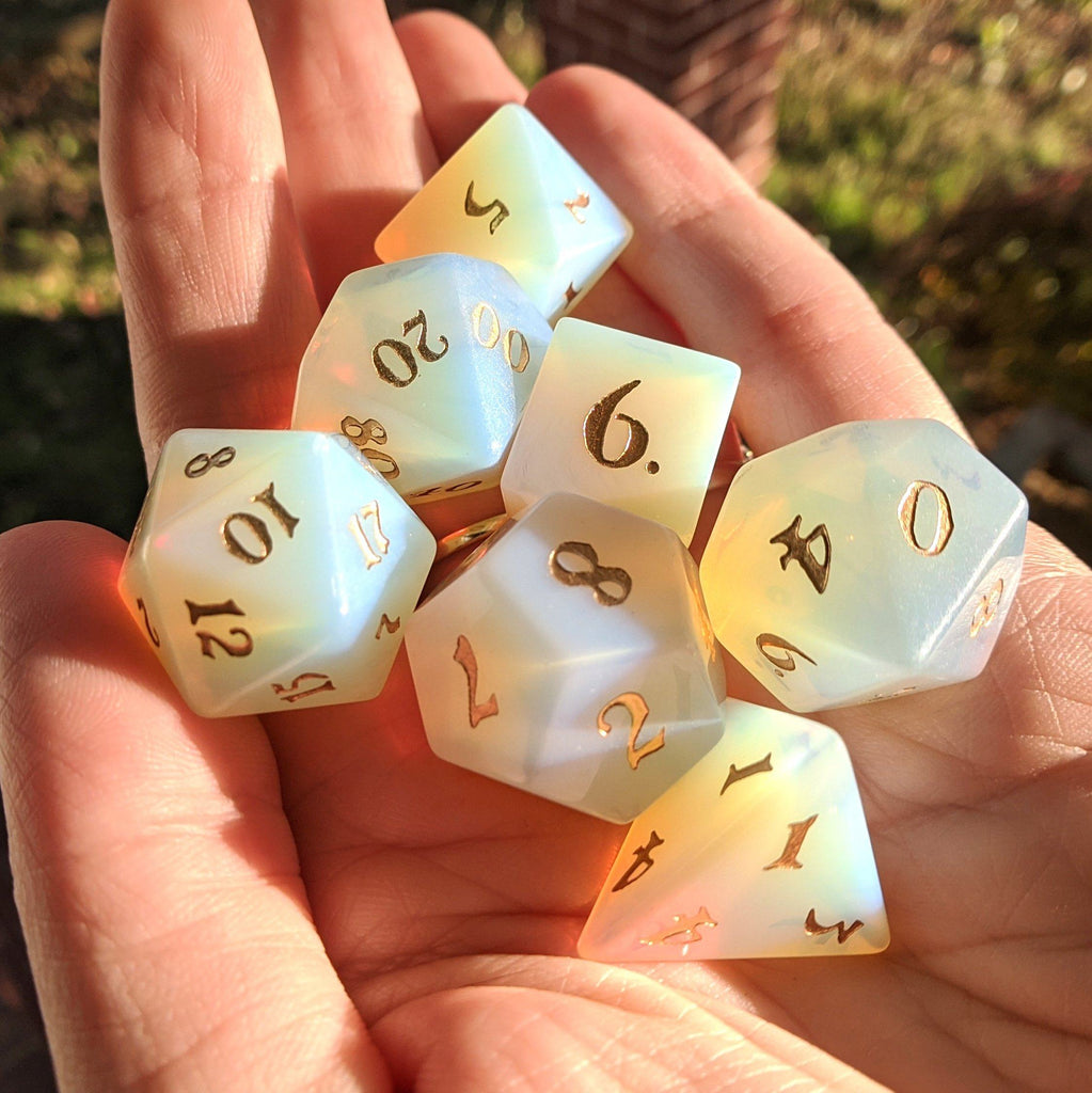 Opalite Dice Set. Real Gemstone 7 Piece TTRPG Dice - CozyGamer
