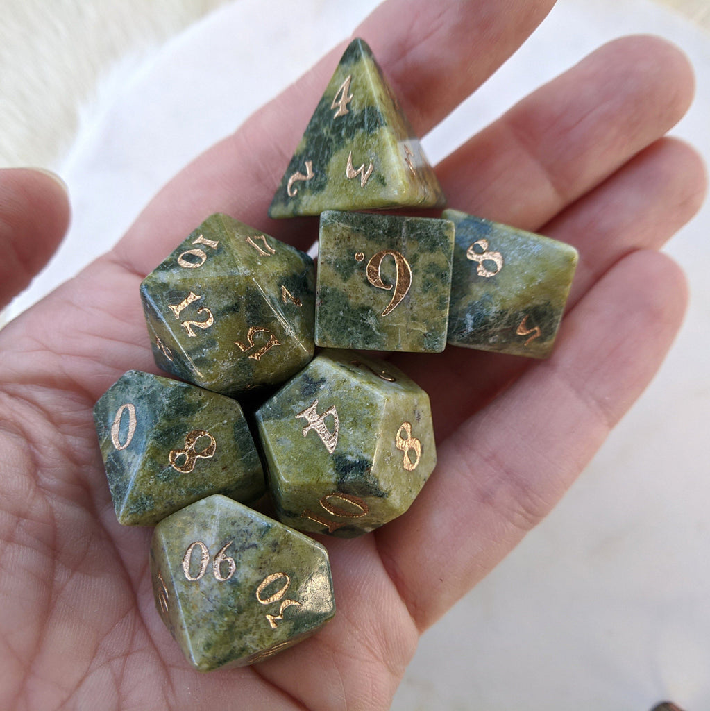 Brazilian Jade Dice Set. Real Gemstone 7 Piece TTRPG Dice - CozyGamer