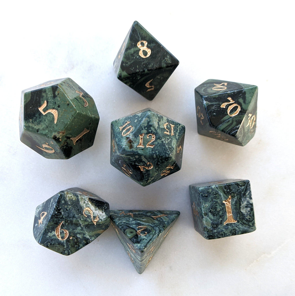 Jasper Dice Set. Real Gemstone 7 Piece TTRPG Dice - CozyGamer