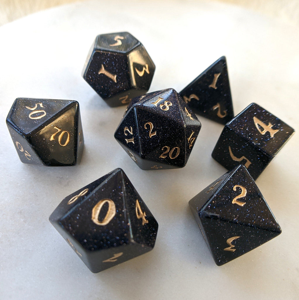 Blue Sandstone Dice Set. Real Gemstone 7 Piece TTRPG Dice - CozyGamer