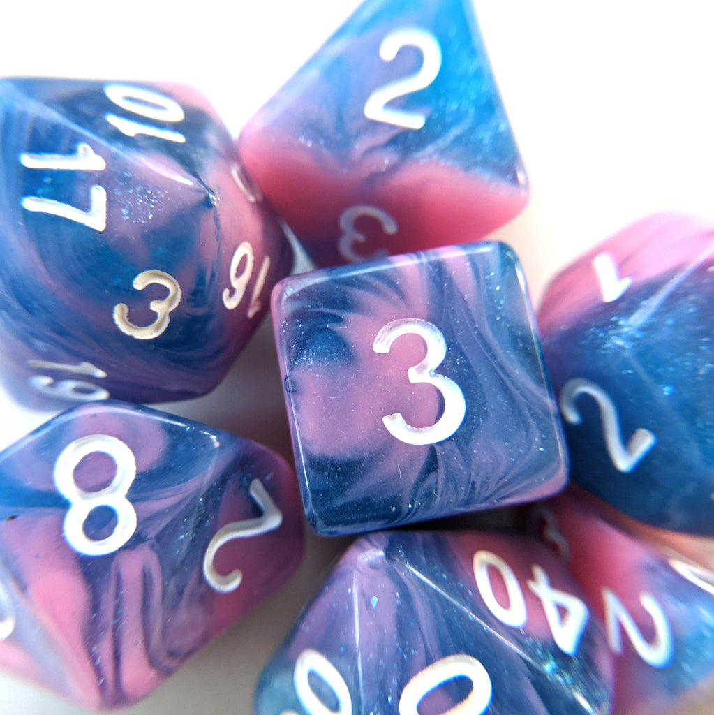 Miami Vice Dice Set. Blue and pink marbled glittery DnD dice set - CozyGamer