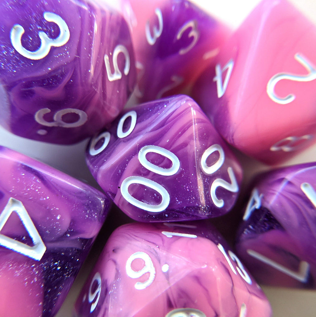 Purple Whirlwind Dice Set - CozyGamer