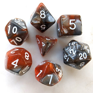 Amber Shard Dice Set. HD dice. Marbled Pearly Dice