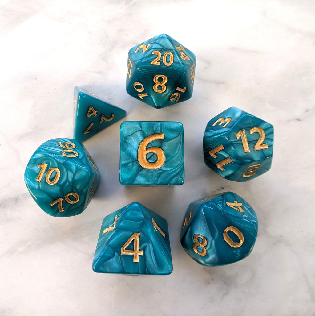 Giant Aquatic Dice Set, Large Blue Pearly 7 Piece Dice Set - CozyGamer