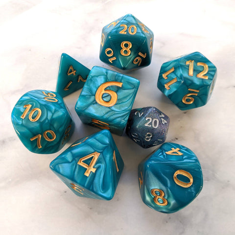 Giant Aquatic Dice Set, Large Blue Pearly 7 Piece Dice Set