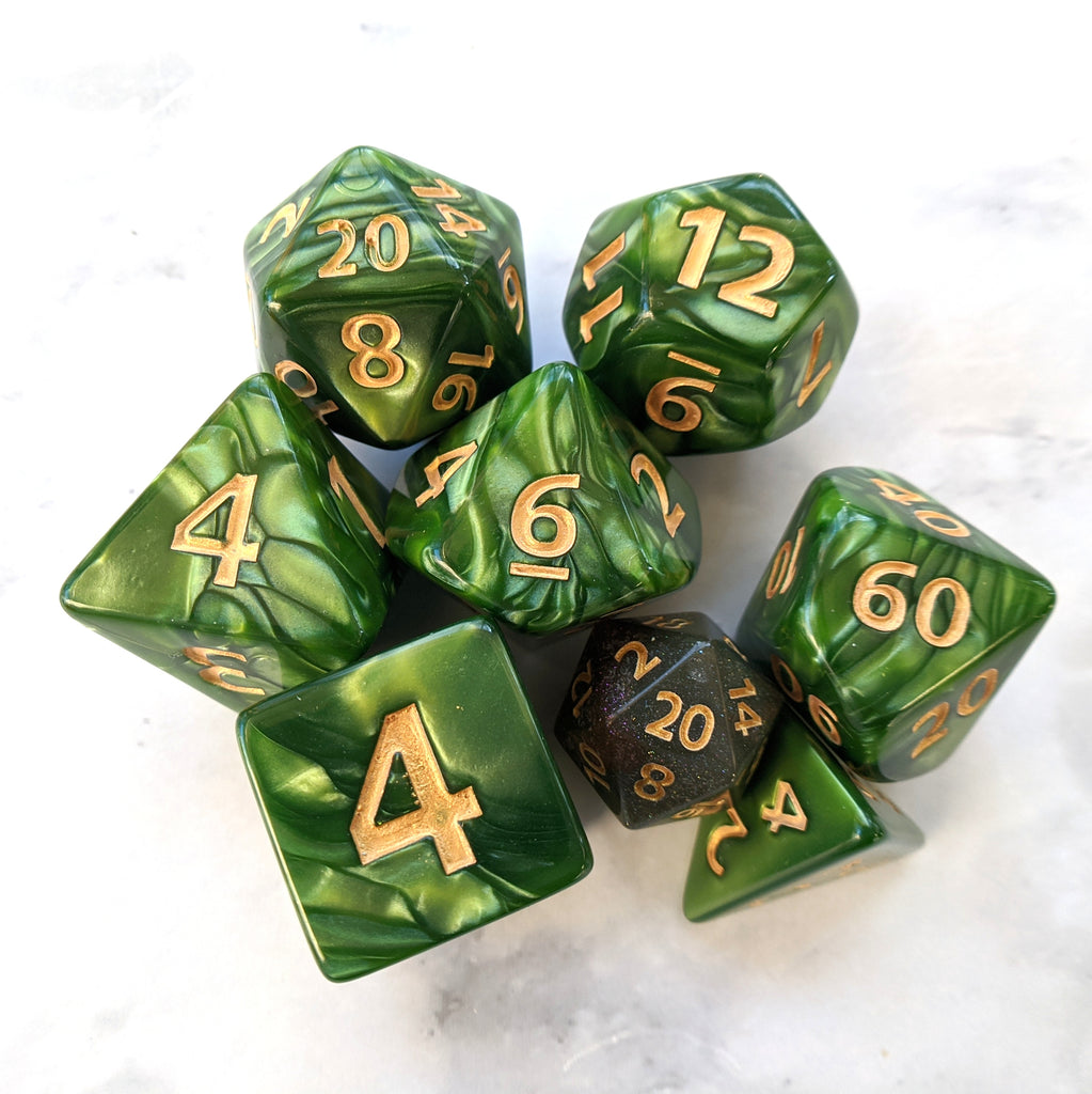 Giant Archer's Dice Set, Large Green Pearly 7 Piece Dice Set - CozyGamer