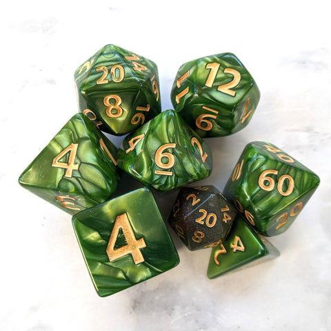 Giant Archer's Dice Set, Large Green Pearly 7 Piece Dice Set