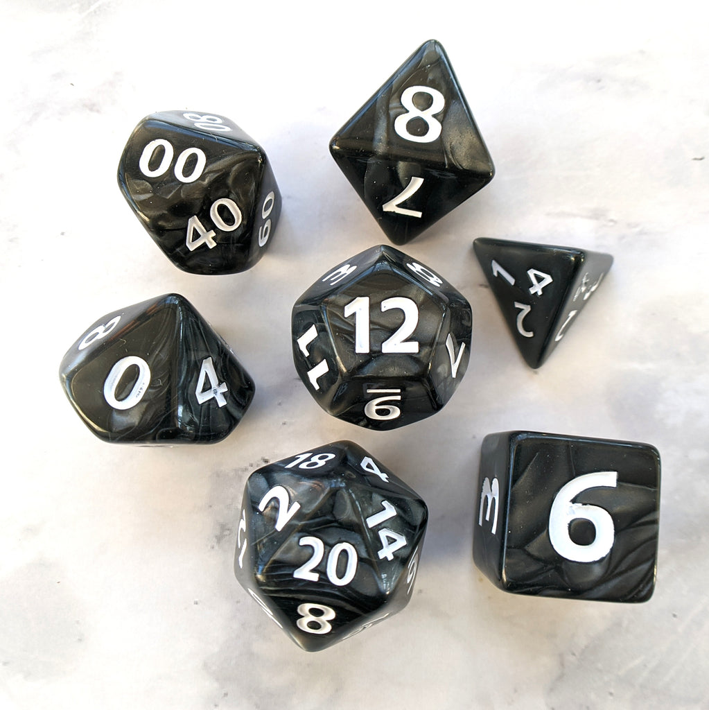 Giant Temper Dice Set, Large Black Pearly 7 Piece Dice Set - CozyGamer
