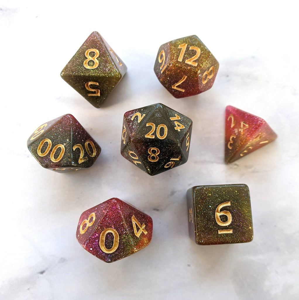 Galaxy Rose Dice Set. Pink and Green Marbled Micro Shimmer - CozyGamer