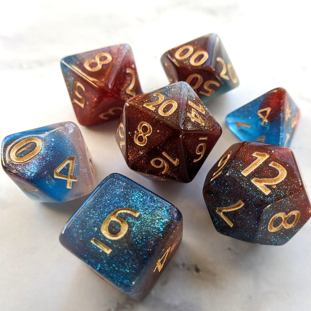 Elemental Magic Dice Set. Red, White, and Blue Marbled Micro Shimmer - CozyGamer
