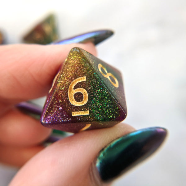 Druid Grove Dice Set. Green, Gold, and Purple Marbled Micro Shimmer