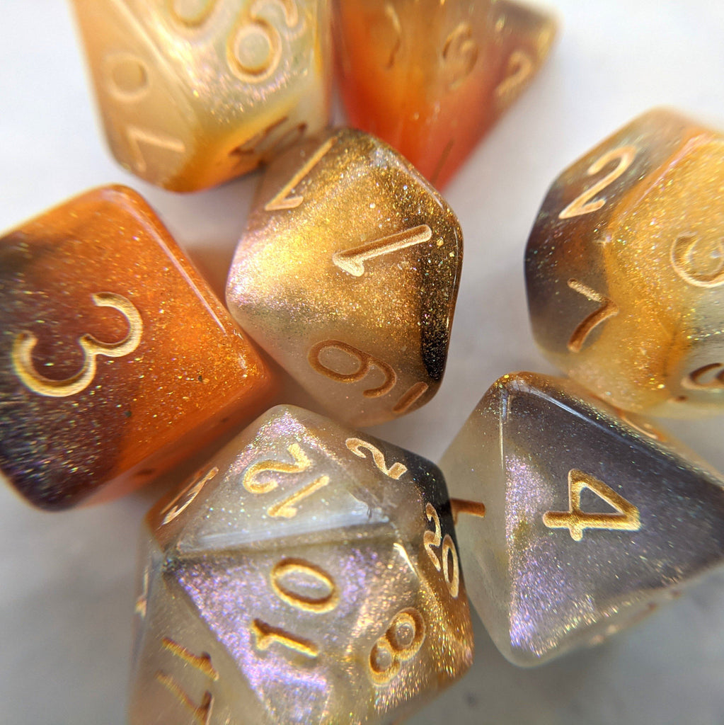 Cat Claws Dice Set. Orange, White, and Black Marbled Micro Shimmer - CozyGamer